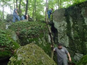 P6231368 rock climbing E of T P Cave entrance