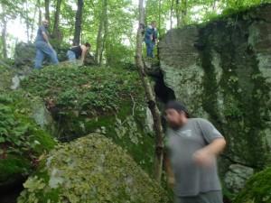 P6231369 rock climbing E of T P Cave entrance
